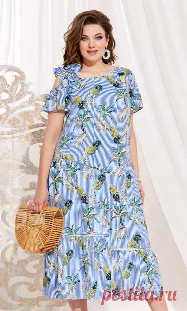 Платье Vittoria Queen 13853 голубой/ананасы купить с доставкой по России | Интернет-магазин BelaRosso-shop.ru