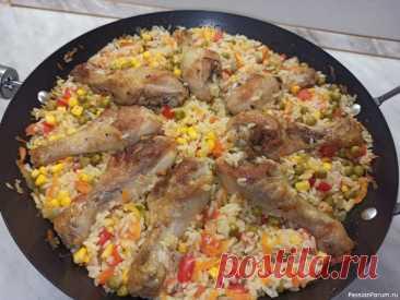 Курица с рисом и овощами. Рис по-каталонски Всем привет! Предлагаю приготовить вкусное блюдо - курица с овощами по- каталонски. Получается очень красивое, ароматное и сытное блюдо. Идеально подходит для обеда или ужинаИнгредиенты 1.Куриные голени - 800 г 2.Лук репчатый - 1шт 3.Морковь - 1шт(130г) 4.Перец болгарский - 1шт(250г)...