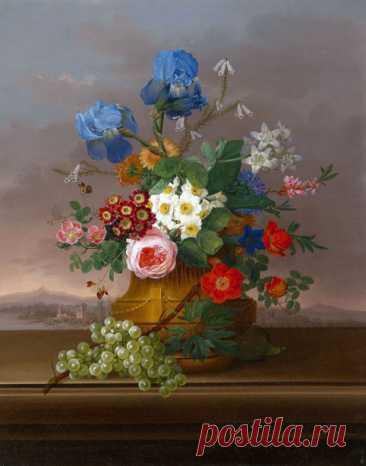 Картина Цветы с виноградом на фоне с пейзажем pf-152 купить цена | Make.ua
