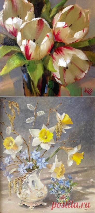 Весенние цветы в живописи | Подборка картин для души