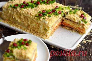 Закусочный торт Наполеон | Рецепты салатов и вкусняшек | Яндекс Дзен