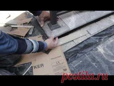 Монтаж парапета клинкерной плиткой на улице Часть 2.