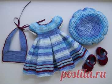 Вязаный наряд (комплект одежды) для куклы Paola Reina
