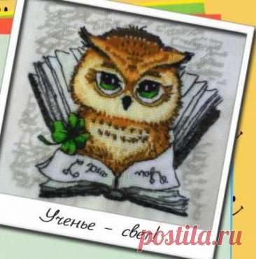 схема для вышивки крестом совы Ученье - свет! из буклета Улыбка