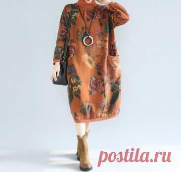 Women Winter Dresses midi dress cotton Dresses high collar   Etsy