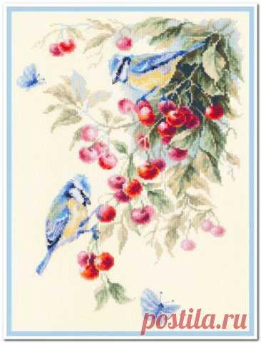 схема для вышивки крестом Синицы и вишня
