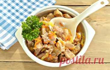Аппетитная подлива из свинины с овощами в мультиварке