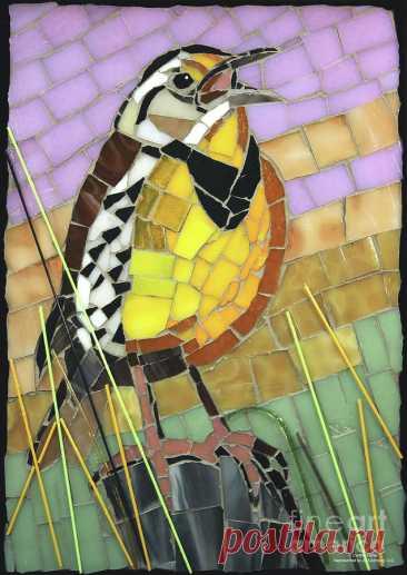 Meadowlark Glass Mosaic by Cynthie Fisher Meadowlark Glass Mosaic Painting by Cynthie Fisher