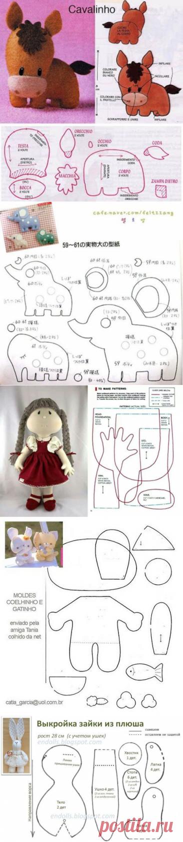 Los patrones de los juguetes y las muñecas. Cosemos los regalos hacia el Nuevo año