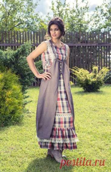Платья, сарафаны, юбки в клетку в стиле Бохо, Кантри | Вертолет на пенсии | Яндекс Дзен