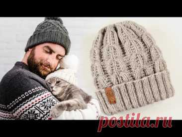 МУЖСКАЯ ШАПКА на осень зиму спицами / Mens autumn winter hat DIY - YouTube