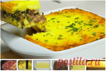 Potato baked pudding with mincemeat