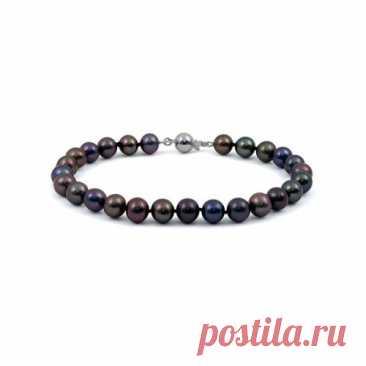 8.900 р-Ожерелье из натурального жемчуга черного цвета