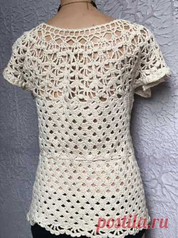 40's Vintage Hand Crochet Cotton Top Original Hand Ma… - Gem