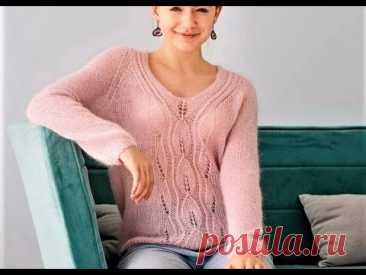 Нежный пуловер из невесомого мохера с рукавами реглан. Вяжем шикарную красоту весом 200г!!!