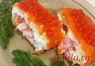 """Бесподобно вкусный салат-рулет """"Царский"""" с красной рыбой"""