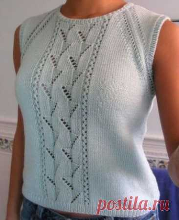 Летний топ спицами для женщин с имитацией реглана,  Вязание для женщин  Размеры(T) 0-1-2-3-4 (0- 34 размер, 1- 3638, 2-4042, 3-4446, 4- 4850 ). Используемые материалы: COTON FIFTY,50% хлопок,50% акрил,50г