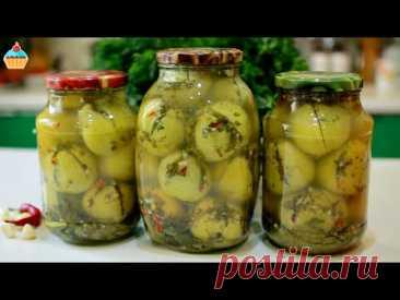 Закуска на зиму. Вкуснейшие ЗЕЛЕНЫЕ ПОМИДОРЫ фаршированные зеленью. Рецепт маринованных помидоров.