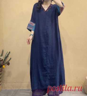Women Linen dresses 3/4 sleeve dress Linen long dress Loose | Etsy