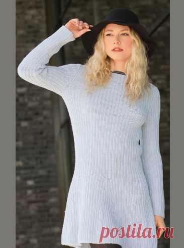 El vestido corto tejido el reptil con la manga larga - el Portal de la costura y la moda