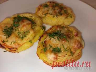 Картофельные гнёзда с курицей и грибами