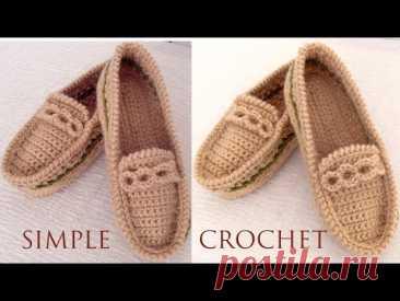 Zapatos a Crochet fáciles de tejer Mocasines tejidos con ganchillo