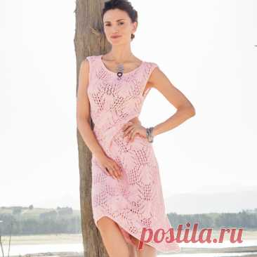 Летнее ажурное платье спицами с фантазийным узором