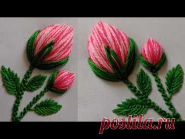 Hand Embroidery : 3d Rose flower design Stitch for kurti/dress/kameez/Blouse | New Flower peony bud