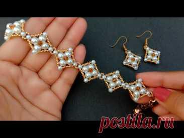 Simple Diamond Beaded Bracelet//Bracelet & Earrings//Jewelry Making// Useful & Easy