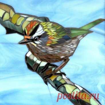 Firecrest Card Bird Card from Original Glass Mosaic Art | Etsy