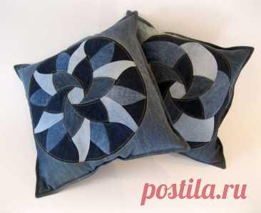 Замечательные подушки из старых джинсов. мастер-класс. — Сделай сам, идеи для творчества - DIY Ideas