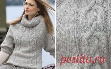 Теплый свитер спицами, с углубленной проймой