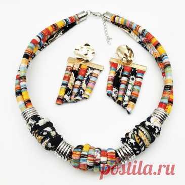 Dandie стильный этнический стиль тканевая Веревка ожерелье с набором сережек, винтажные, простые женские аксессуары Ювелирные наборы    АлиЭкспресс