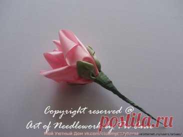 Роза из атласной ленты: мастер-класс