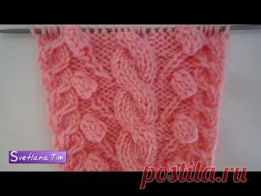 Узор КОСА с ШИШЕЧКАМИ для шапочки, свитера. Вязание спицами + схема / Узоры  № 272