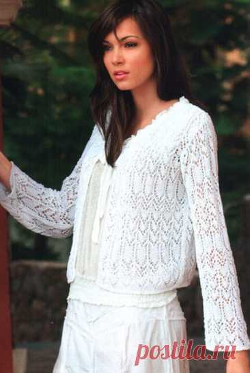 Белый ажурный жакет Нежность спицами – схема и описание вязания — Пошивчик одежды