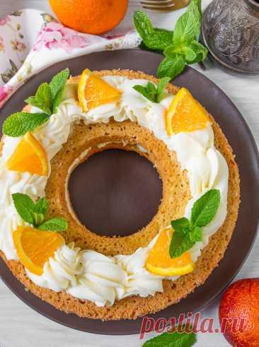 Апельсиновый кекс со сливочным кремом
