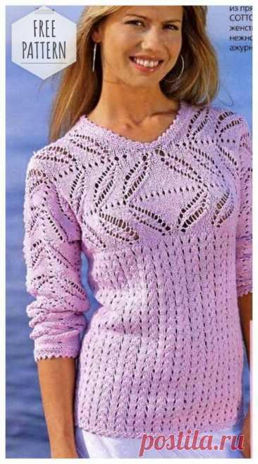 Пуловер с ажурной кокеткой и рукавами