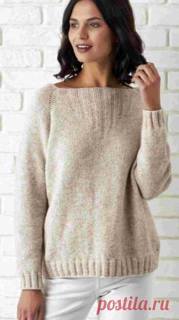 Пуловер с рукавами реглан спицами