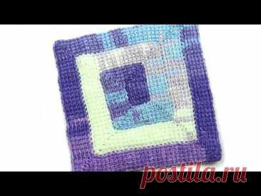 Плед тунисским вязанием 5 петель   Plaid Tunisian knitting 5 loops