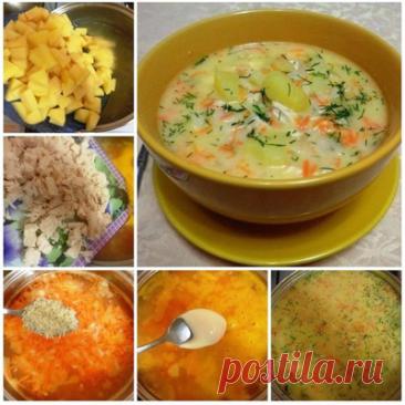 Сырный суп с куриным филе   Ингредиенты:  Картофель среднего размера — 5–6 шт. Крупная луковица — 1 шт. Морковь — 1–2 шт. Куриное филе — 2 шт. Рис — 150 г Плавленый сыр в ванночке — 250 г Соль — по вкусу перец — по вкусу Зелень петрушки или укропа — по вкусу  Приготовление:  1. Опустить куриное филе в кастрюлю, залить холодной водой и отправить вариться на среднем огне на 20 минут после закипания. 2. Картошку, морковь и лук очистить от кожуры, вымыть. Лук мелко нарезать, м...