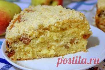 Шикарный яблочный пирог «Домашний» на сметане с изюмом!