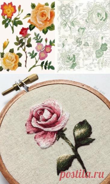 Вышивка гладью розы: 27 схем ~ Свое рукоделие