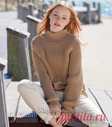 Повседневный шерстяной пуловер с полупатентным узором — Shpulya.com - схемы с описанием для вязания спицами и крючком