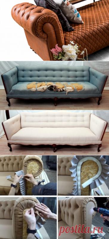 Как перетянуть диван: пошаговая инструкция с фото   советы от Mebel169.ru