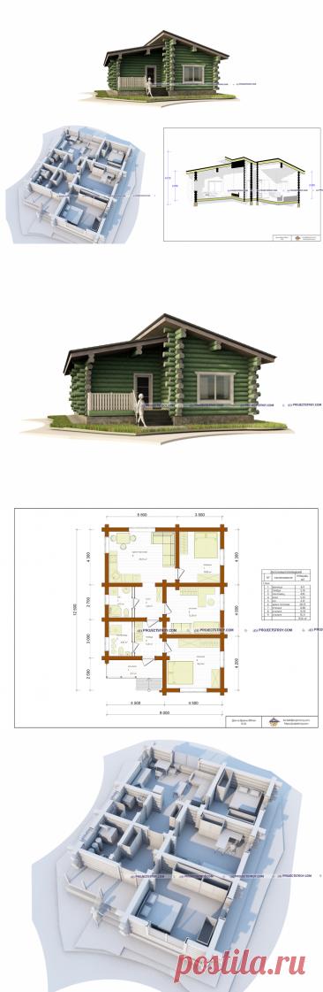 Проект одноэтажного дома из рубленого бревна 9 х 12.5 м
