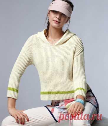 Пуловер с капюшоном  Очень сдержанный, актуально короткий, связанный патентным узором пуловер с капюшоном станет вашей самой любимой вещью, ведь он так чудесно вписывается в непринужденный уличный стиль.  Размеры 36/40 (42/46)  ВАМ ПОТРЕБУЕТСЯ Пряжа 1 (100% овечьей шерсти; 130 м/50 г) — 700 (750) г белой; пряжа 2 (100% хлопка; 125 м/50 г) — 50 г лимонной; спицы № 3,5; крючок №3. ПАТЕНТНЫЙ УЗОР Вязать рядами в прямом и обратном направлениях:число петель нечетное.  1-й р. = ...