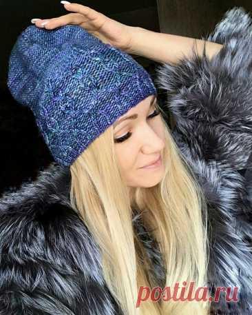 Стильная шапочка на осень (Вязание спицами) — Журнал Вдохновение Рукодельницы