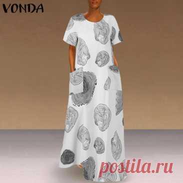 755.44руб. 39% СКИДКА|Женское летнее платье макси 2021, модный сарафан VONDA с принтом, повседневные платья с коротким рукавом, женские платья с круглым вырезом, женское платье 5XL|Платья|   | АлиЭкспресс Покупай умнее, живи веселее! Aliexpress.com
