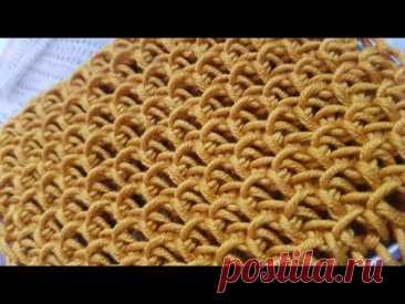 Вяжем эффектный черепичный узор спицами 🙋♀️ knitting pattern. - YouTube